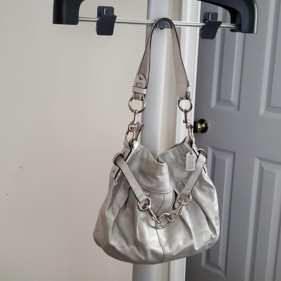 Coach Handbags - Coach Metallic Silver Shoulder Bag